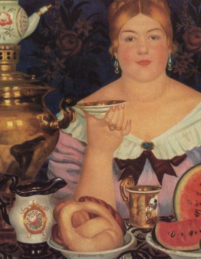 Boris Koustodiev-Marchande prenant le thé