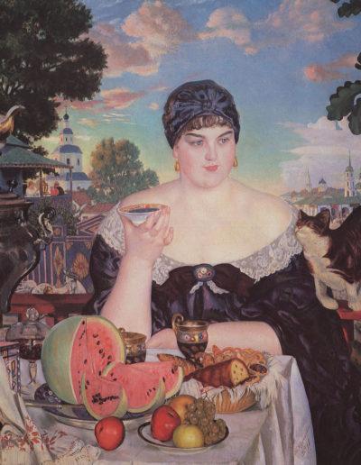Boris Koustodiev-Femme buvant son thé
