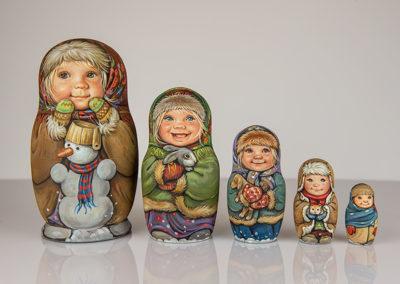 Matriochka Les enfants et l'hiver - Sacha Larionova